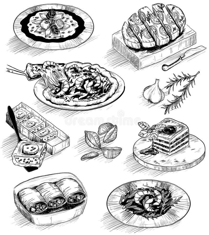 Ilustração tirada mão com esboços do alimento ilustração do vetor