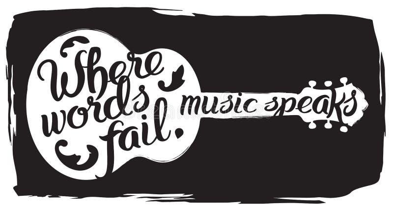 A ilustração tirada mão com guitarra acústica e a rotulação citam ilustração do vetor