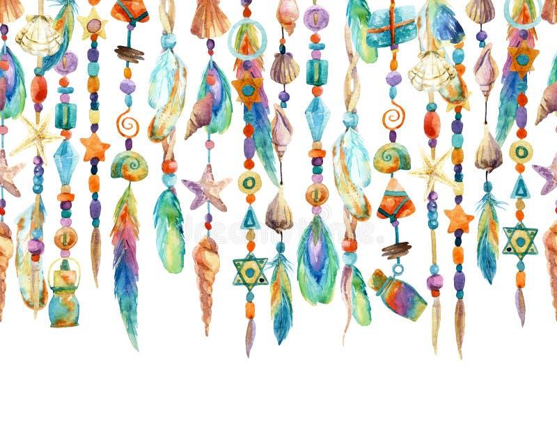Ilustração tirada mão com joia do shell e dos grânulos do mar ilustração royalty free