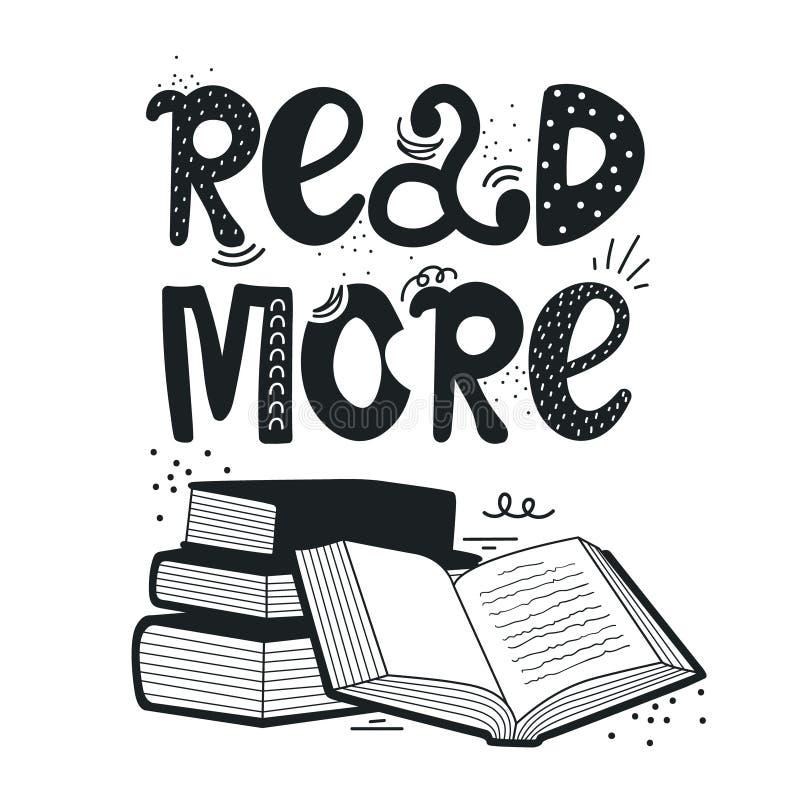 Ilustração tirada mão com a pilha de livros e de rotulação Leia mais livros ilustração stock