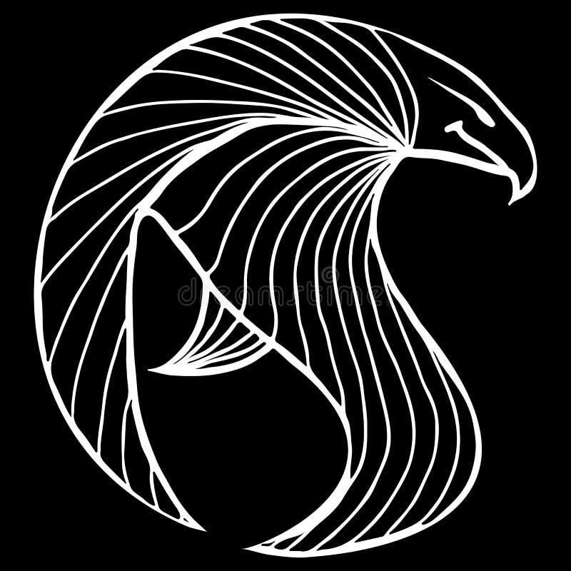 Ilustração tirada mão da águia do vetor Ícone fantástico do falcão Silhueta a mão livre do corvo do esboço Ilustração do esboço d ilustração royalty free