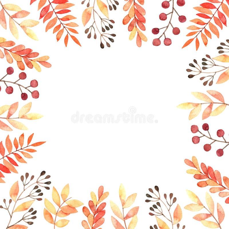 Ilustração tirada mão da aguarela Quadro com folhas da queda, spru ilustração stock