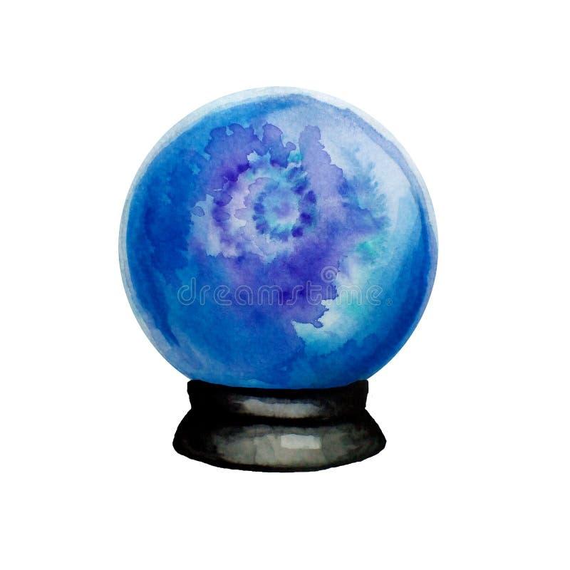 Ilustração tirada mão da aquarela da bola de vidro mágica da fortuna isolada ilustração do vetor