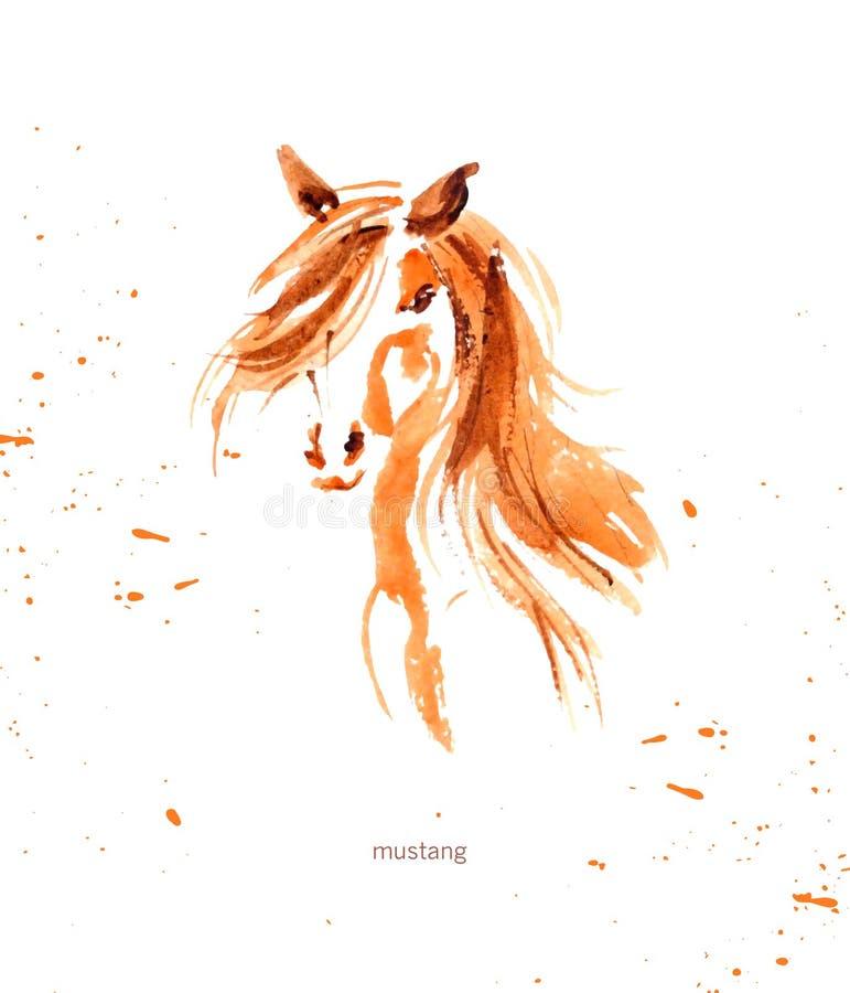 Ilustração tirada mão da aquarela do cavalo bonito ilustração royalty free