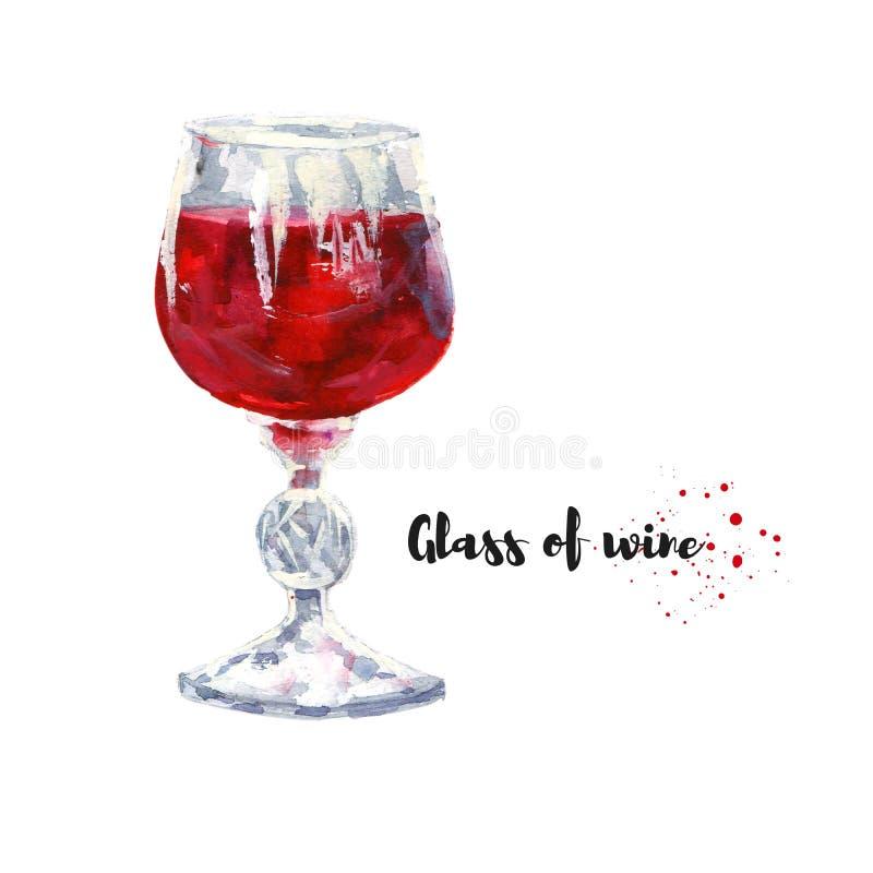 Ilustração tirada mão da aquarela do vidro do vinho Desi da quadriculação fotos de stock royalty free