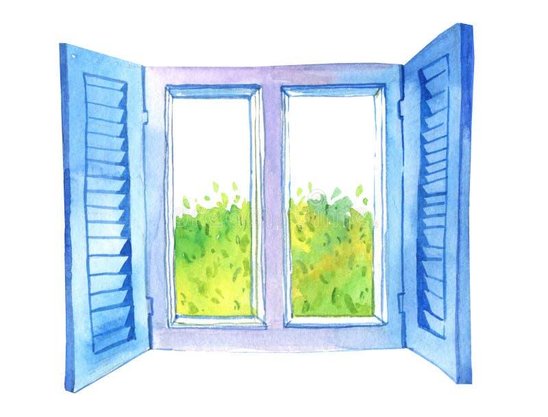 Ilustração tirada mão da aquarela da janela aberta e da árvore verde ilustração stock