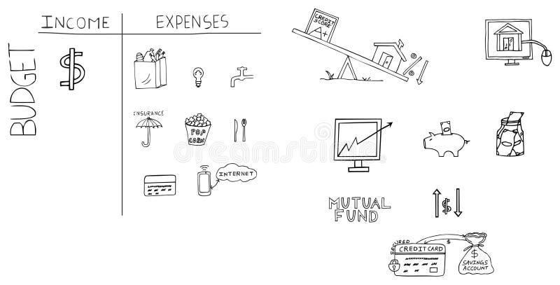 Ilustração tirada mão da finança pessoal fotos de stock royalty free