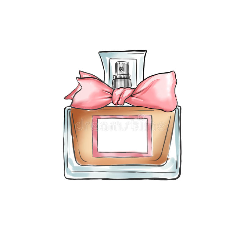 Ilustração tirada mão da garrafa de perfume ilustração royalty free