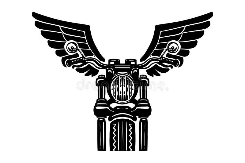 Ilustração tirada mão da motocicleta com asas Projete o elemento para o logotipo, etiqueta, emblema, sinal, crachá, cartaz, camis ilustração do vetor