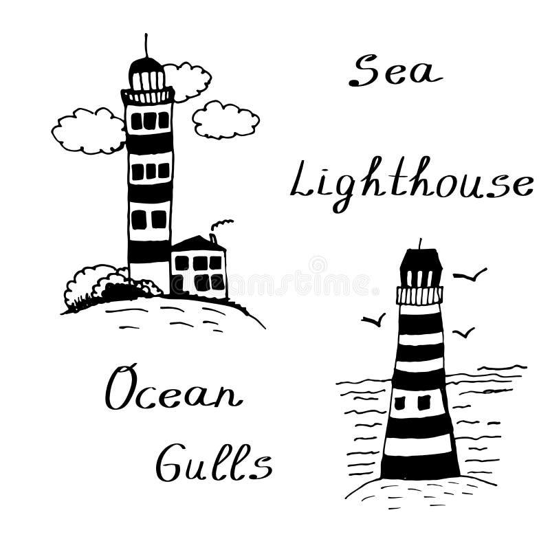 Ilustração tirada mão da tinta dos faróis do mar da garatuja ilustração stock