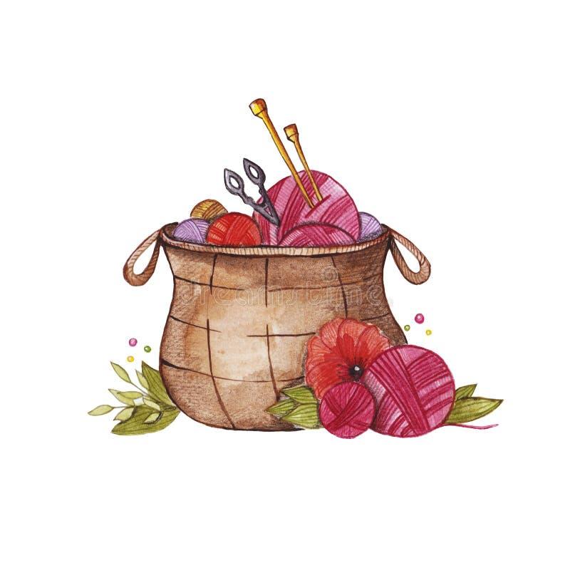Ilustração tirada mão de confecção de malhas da aquarela da cesta fotos de stock