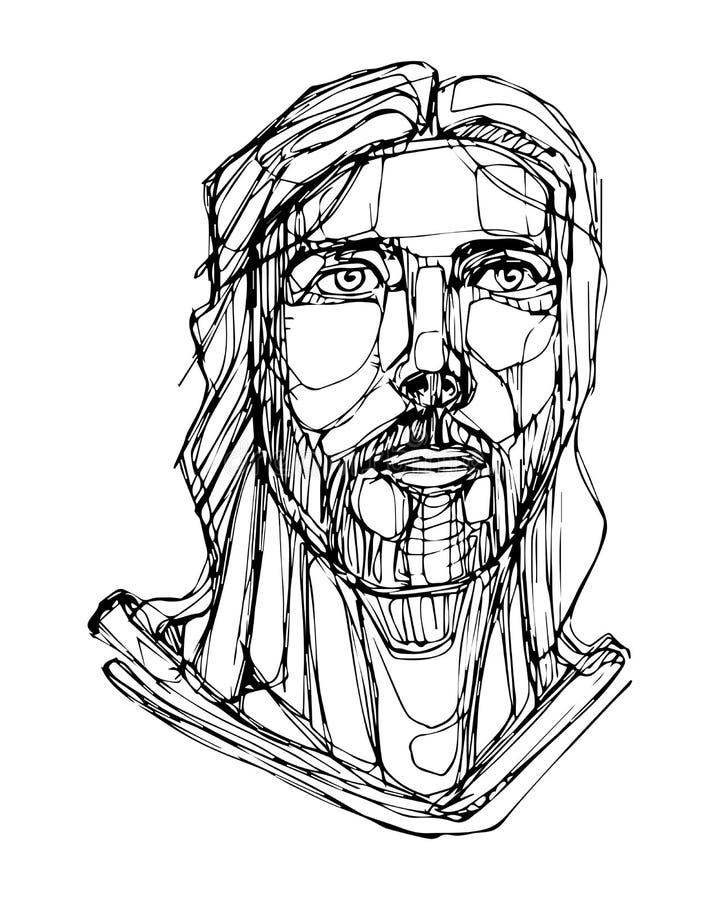 Ilustração tirada mão de Jesus Christ Face ilustração do vetor
