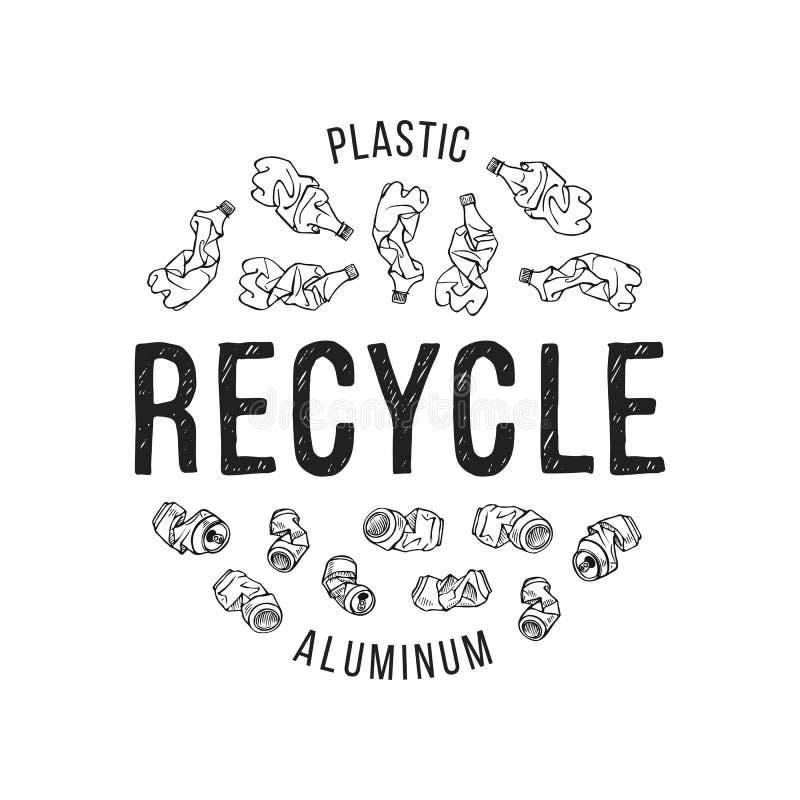 Ilustração tirada mão de materiais recicláveis ilustração stock