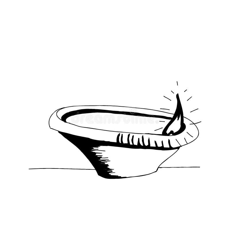Ilustração tirada mão de queimadura do vetor do diya Estilo tradicional do desenho de esboço da lanterna ilustração do vetor