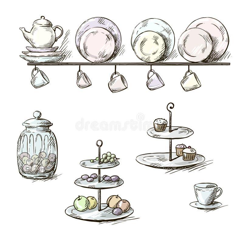 Ilustração tirada mão de utensílios da cozinha ilustração stock