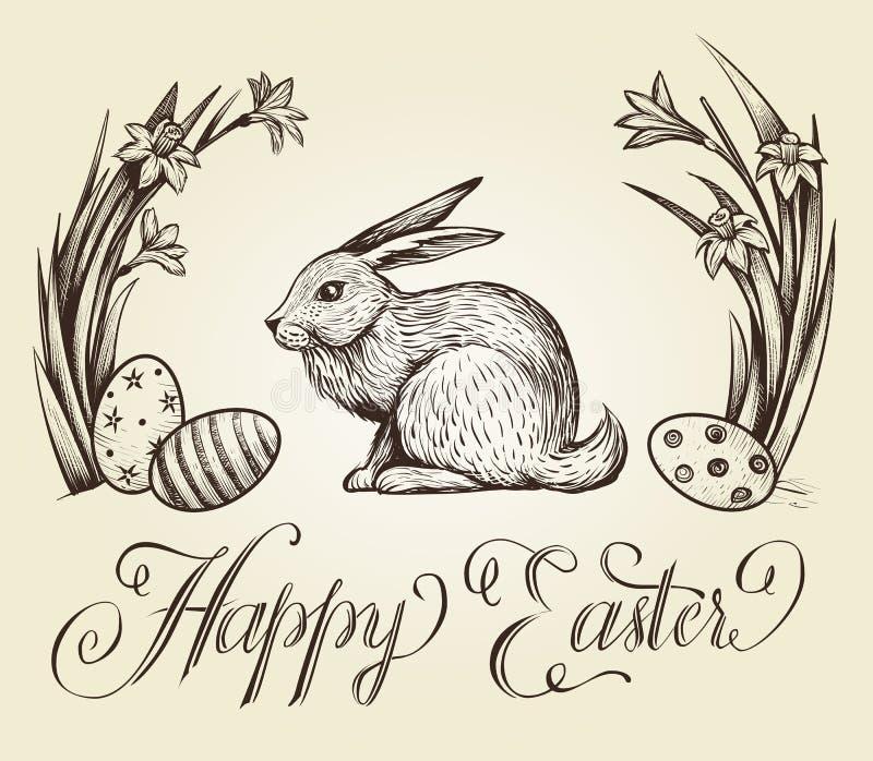Ilustração tirada mão do cartão do vintage da Páscoa A rotulação feliz da Páscoa com coelho, os ovos festivos e o narciso floresc ilustração royalty free