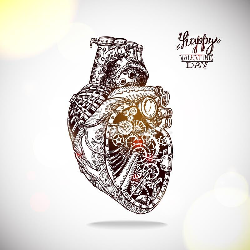Ilustração tirada mão do coração mecânico foto de stock