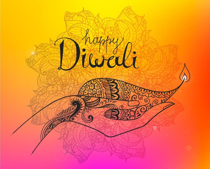 Ilustração tirada mão do diwali do vetor A linha arte decorou as mãos coloridas que guardam o diya ilustração stock