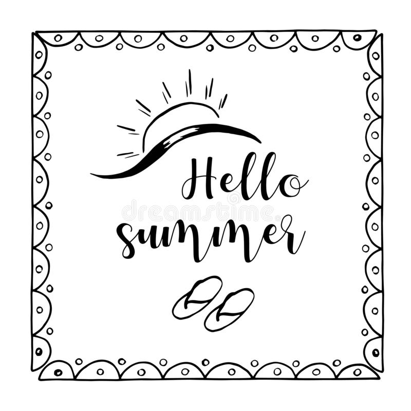 Ilustração tirada mão do esboço no fundo branco, elementos do projeto Horas de verão da rotulação ilustração royalty free