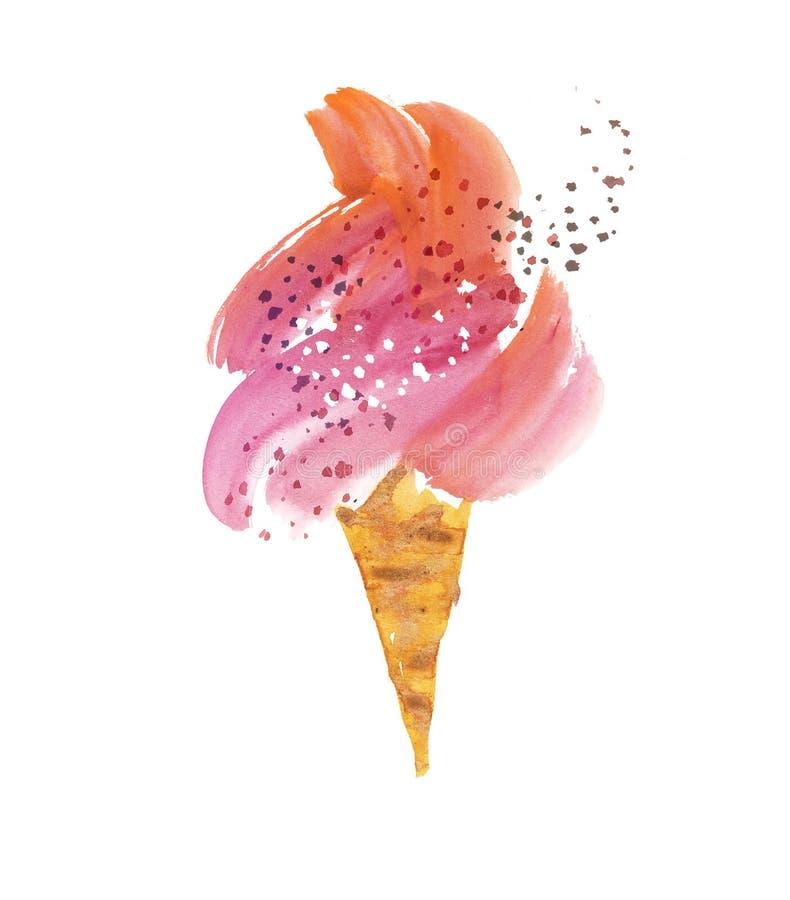Ilustração tirada mão do gelado de Gelato fotografia de stock royalty free