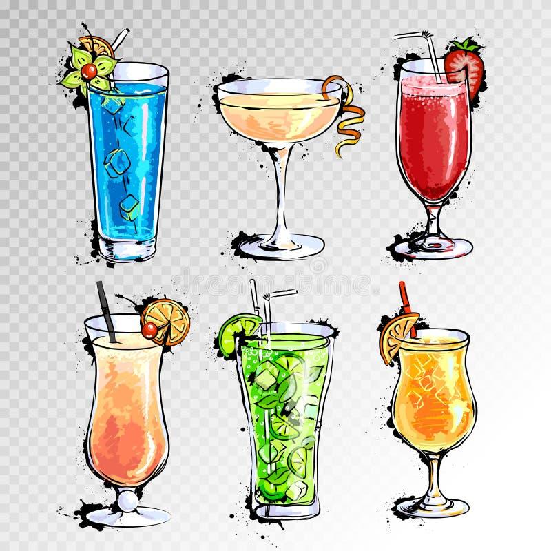 Ilustração tirada mão do grupo de cocktail ilustração royalty free