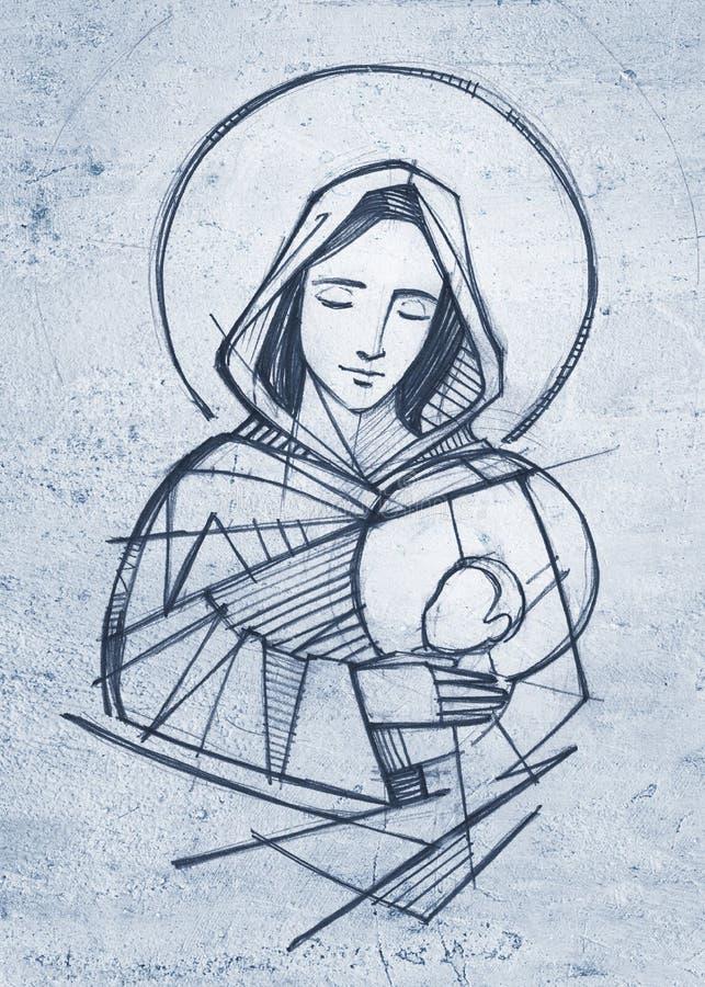 Ilustração tirada mão do lápis de Jesus da Virgem Maria e do bebê ilustração royalty free