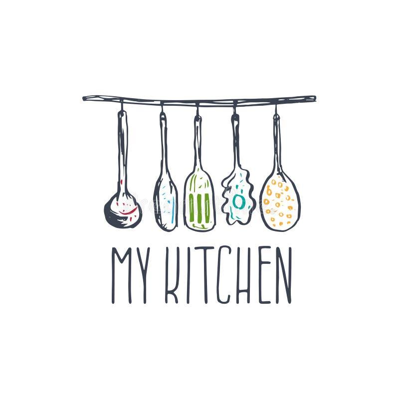 Ilustração tirada mão do logotipo do conceito para a cozinha temático ilustração royalty free