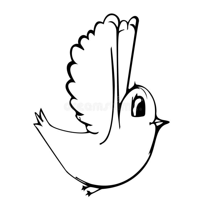 A ilustração tirada mão do pássaro converteu a um vetor em um fundo branco isolado ilustração stock