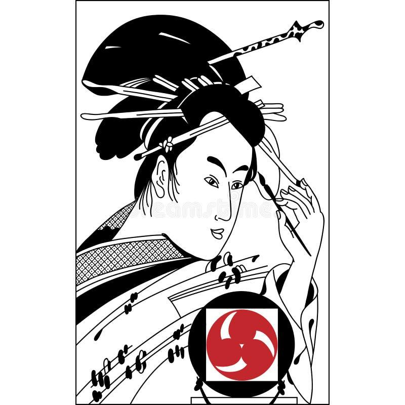 Ilustração tirada mão do samurai Arte da tração da mão do vintage ilustração do vetor