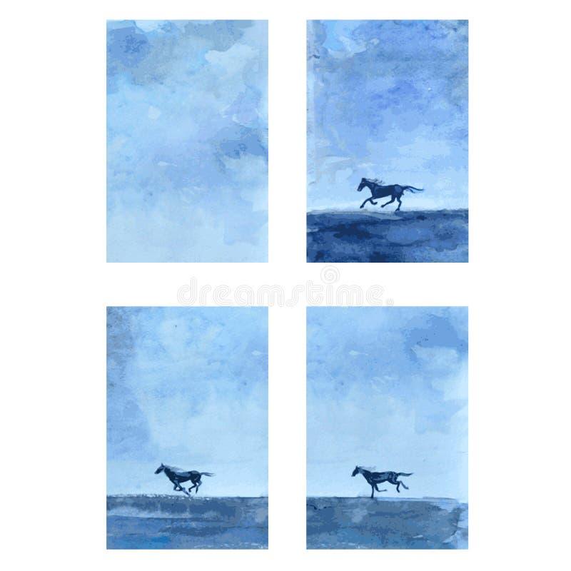 Ilustração tirada mão do sumário do vetor da aquarela do cavalo, bandeira vertical com corrida de cavalos, animal selvagem, molde ilustração do vetor