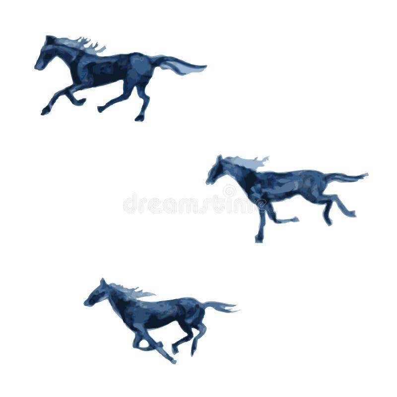 Ilustração tirada mão do sumário do vetor da aquarela do cavalo isolada no fundo branco, animal decorativo para o projeto ilustração stock