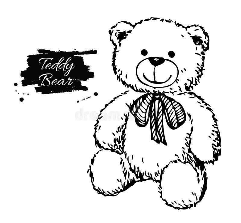 Ilustração tirada mão do urso de peluche do vetor ilustração do vetor