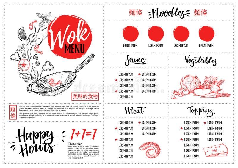 Ilustração tirada mão do vetor - alimento asiático Menu do frigideira chinesa com calli ilustração royalty free