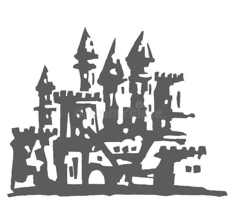 Ilustração tirada mão do vetor do castelo no fundo branco ilustração do vetor