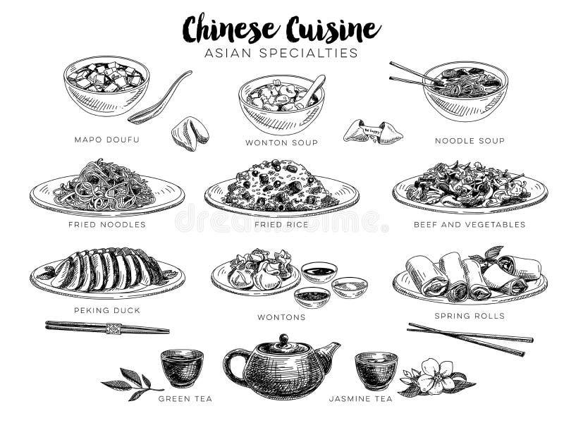 Ilustração tirada mão do vetor com alimento chinês
