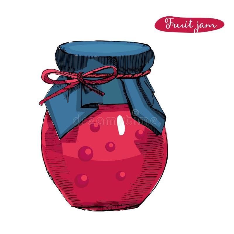 Ilustração tirada mão do vetor com frasco completamente do doce do fruto, isolado no fundo branco O esboço pode para o doce carto ilustração stock