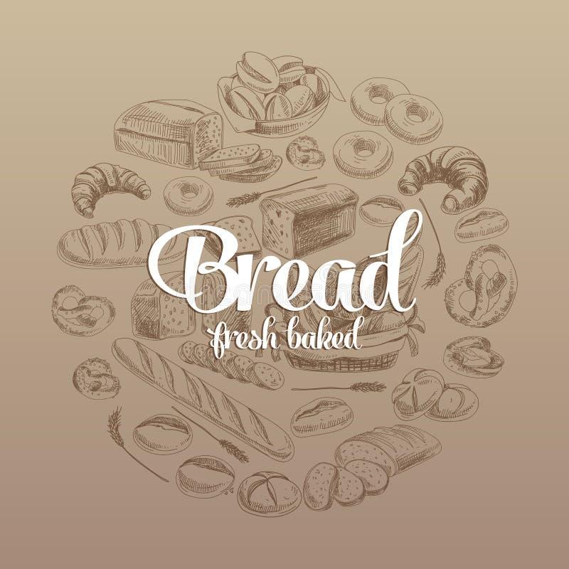 Ilustração tirada mão do vetor com pão ilustração stock
