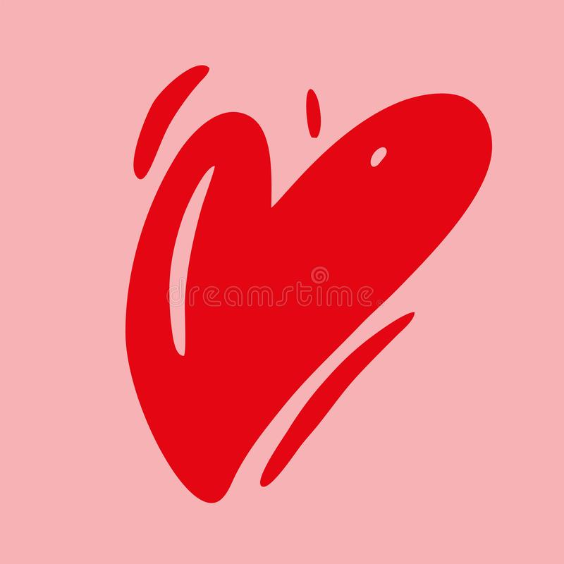 Ilustração tirada mão do vetor do coração do amor Cartão feliz do dia de Valentim Isolado ilustração stock