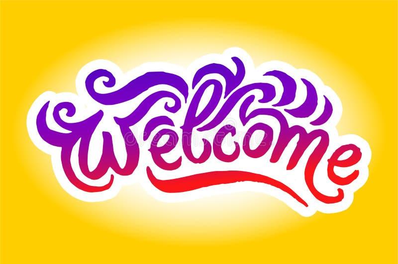 Ilustração tirada mão do vetor da ilustração bem-vinda da rotulação do logotipo no fundo branco ilustração stock
