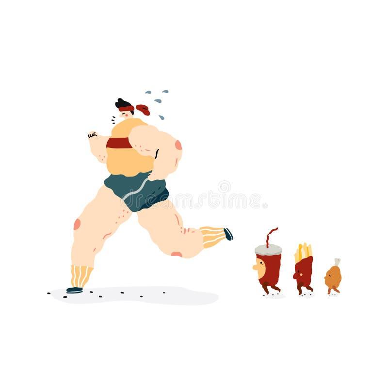 A ilustração tirada mão do vetor da caminhada dos caráteres do fast food segue a corrida gorda dos povos Soda, batatas fritas, de ilustração do vetor