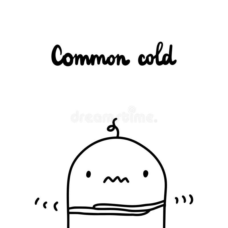 Ilustração tirada mão do vetor da constipação comum Sintoma da asma Estilo do minimalismo dos desenhos animados ilustração do vetor
