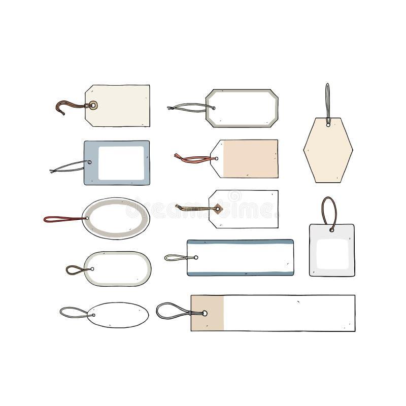Ilustração tirada mão do vetor da etiqueta do papel vazio no fundo branco Etiqueta da bagagem Venda de etiqueta com cordas Etique ilustração do vetor