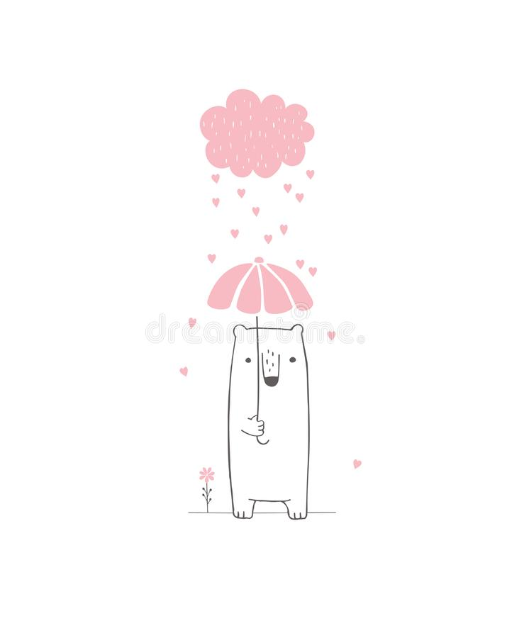 Ilustração tirada mão do vetor da festa do bebê Nuvem cor-de-rosa com corações deixando cair, urso branco bonito ilustração do vetor