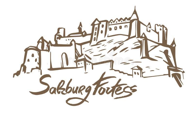 Ilustração tirada mão do vetor da fortaleza de Salzburg no fundo branco ilustração stock