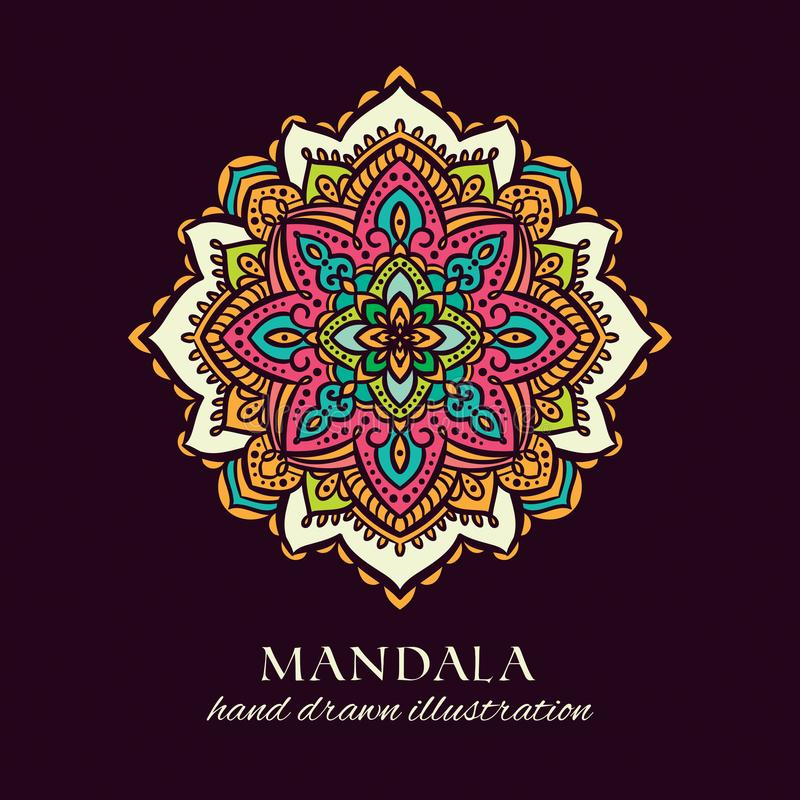 Ilustração tirada mão do vetor da garatuja da mandala Ornamento étnico decorativo colorido ilustração do vetor