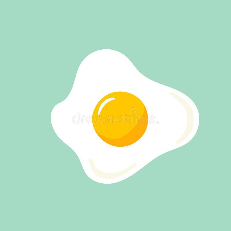 Ilustração tirada mão do vetor da garatuja do ovo frito do estrelado com o garfo amarelo brilhante no fundo claro de turquesa ilustração royalty free