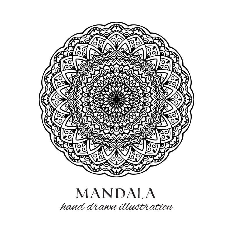 Ilustração tirada mão do vetor da mandala Ornamento étnico decorativo do anti esforço preto e branco ilustração do vetor