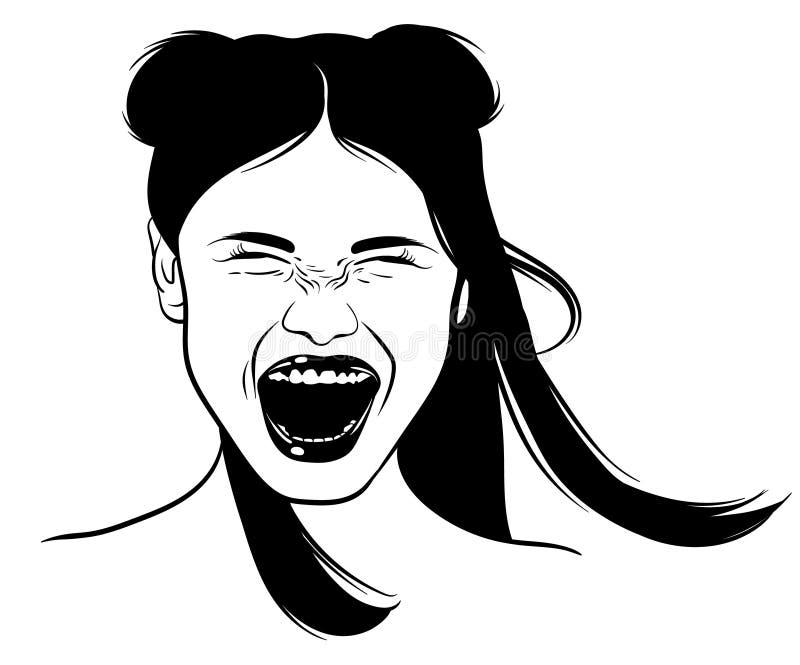 Ilustração tirada mão do vetor da menina gritando ilustração royalty free