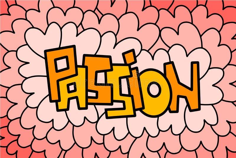 Ilustração tirada mão do vetor da paixão com rotulação Minimalismo do estilo dos desenhos animados Corações em torno da palavra ilustração do vetor