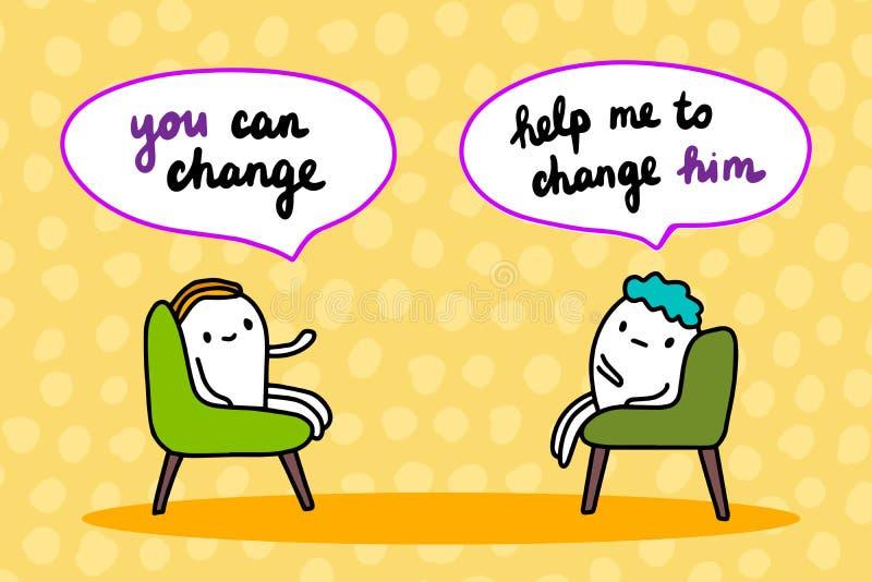 Ilustração tirada mão do vetor da psicoterapia Fala dos homens dos desenhos animados Você pode mudar a sessão no armário ilustração stock